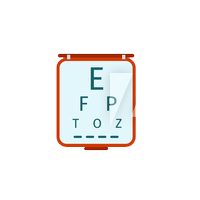 An eye exam chart is shown. Uptown Vision is focused on you, our patients.