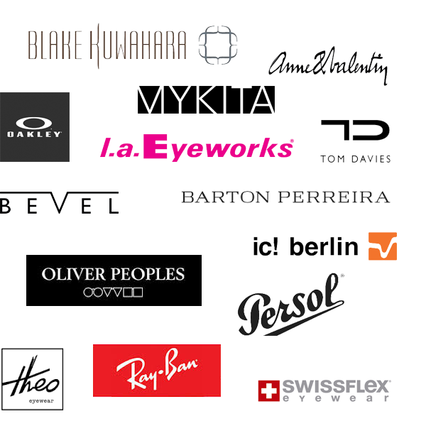 A list of the many brands of glasses that we carry, including Persol, Ray-Ban, and Oliver Peoples.